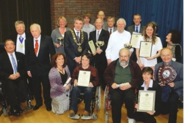 Awards winners with the Mayor of Runnymede